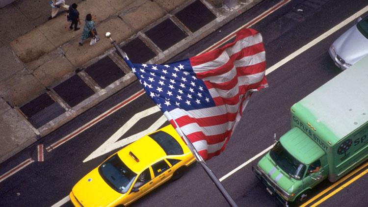 イメージスライド17 NYC/星条旗とYellowCab